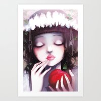 snow Art Prints featuring Snow white by Ludovic Jacqz