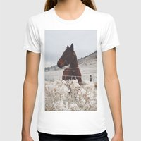 Snowy Horse Womens Fitted Tee White SMALL