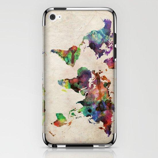 World Map Urban Watercolor iPhone & iPod Skin