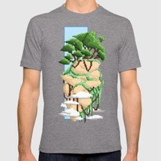 Pixel Landscape : Flying Rock Mens Fitted Tee Tri-Grey SMALL