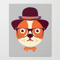 Hipster Dog Canvas Print