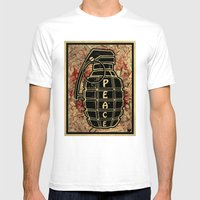 Peace Grenade Print Mens Fitted Tee White SMALL