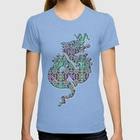 Autumn Roses Womens Fitted Tee Tri-Blue SMALL