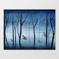 Witches Flying Low Through the Woods Canvas Print