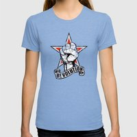 Up The Revolution! Womens Fitted Tee Tri-Blue SMALL