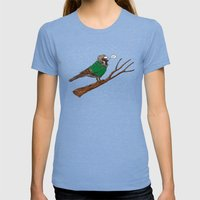 Annoyed IL Birds: The Sparrow Womens Fitted Tee Tri-Blue SMALL
