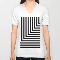 Black And White L Stripe… Unisex V-Neck