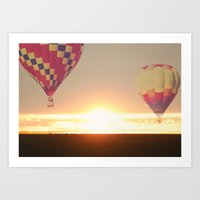 Balloons at Sunset Art Print