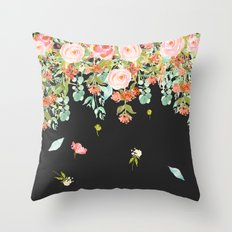 Coral Roses in Gray Throw Pillow