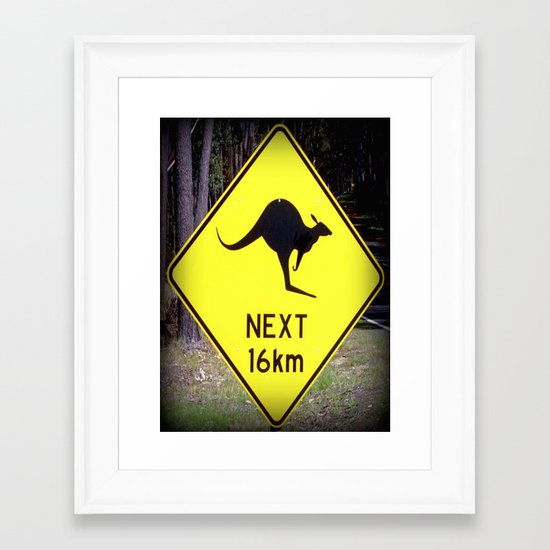 Kangaroo road Sign Framed Art Print