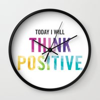 New Year's Resolution Reminder - TODAY I WILL THINK POSITIVE Wall Clock