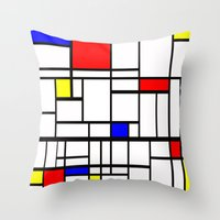 Mondrian inspired Throw Pillow