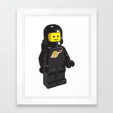 Vintage Lego Black Spaceman Minifig Framed Art Print