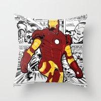 Iron Man Comic Throw Pillow
