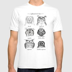Caffeinated Owls Mens Fitted Tee White SMALL