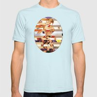 Glitch Pin-Up Redux: Amber Mens Fitted Tee Light Blue SMALL