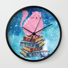 Bookish Cat In Winter Wall Clock