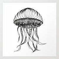 Jellyfish Octopus Creature Imaginitive  Art Print