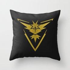 Team Instinct Sparkly yellow gold sparkles Throw Pillow