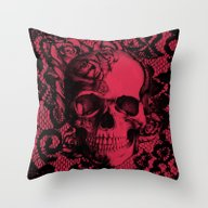 Throw Pillow featuring Gothic Lace Skull In Red… by Kristy Patterson Des…