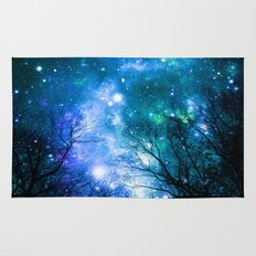 Black Trees Blue Turquoise Teal Space Rug