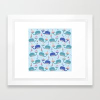 whales in a Row Framed Art Print