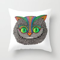 Alice´s cheshire cat by Luna Portnoi Throw Pillow