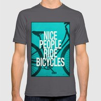 Nice People Ride Bicycle… Mens Fitted Tee Asphalt SMALL