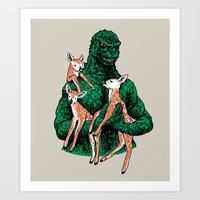 Fawns Meet Kaiju Art Print
