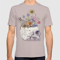 Half Skull Flowers Mens Fitted Tee Cinder SMALL