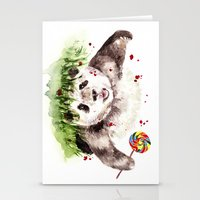 panda Stationery Cards featuring Panda by Anna Shell