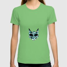 Turquoise Cat Womens Fitted Tee Grass SMALL