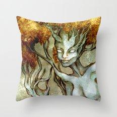 Golden Dryad Throw Pillow