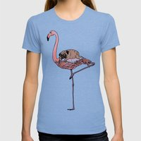 Flamingo and Pug Womens Fitted Tee Tri-Blue SMALL