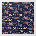 Cute vintage pattern with birds and flowers Canvas Print
