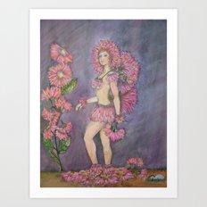 Fairy of the Pink Gerbera Daisy Flower Art Print