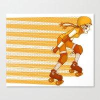 Roller Derby Skater By R… Canvas Print