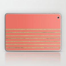 Peach and Gold Stripes Laptop & iPad Skin