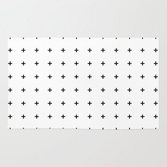 Black Plus on White /// www.pencilmeinstationery.com Area & Throw Rug