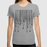 Abstract Hand Drawn Blac… Womens Fitted Tee Athletic Grey LARGE