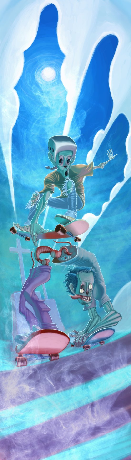Zombies and Skateboards Art Print