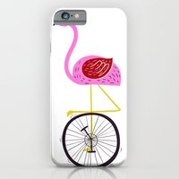iPhone & iPod Case featuring flamingo unicycler by Joanne Liu