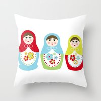 Matrioshka Dolls - Trio Throw Pillow