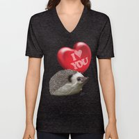 Hedgehog In Love With A … Unisex V-Neck