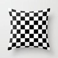 Checker Cross Squares Bl… Throw Pillow