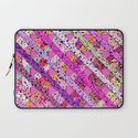 Girly Abstract pastel Polka Dots Striped Pattern Laptop Sleeve