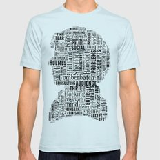 Sherlock BBC Benedict Cumberbatch Typography Silhouette Mens Fitted Tee Light Blue SMALL
