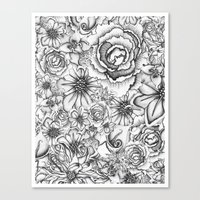 B&W Flowers  Canvas Print