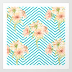 Flowers and Stripes Art Print