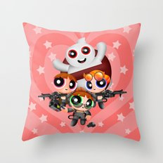 Cute Power Ghost Buster Puff Girl Squad Throw Pillow